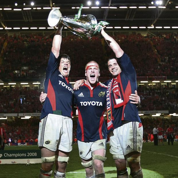 Donncha O'Callaghan, Paul O'Connell and Alan Quinlan celebrate winning the Heineken Cup final. Photo: David Conachy