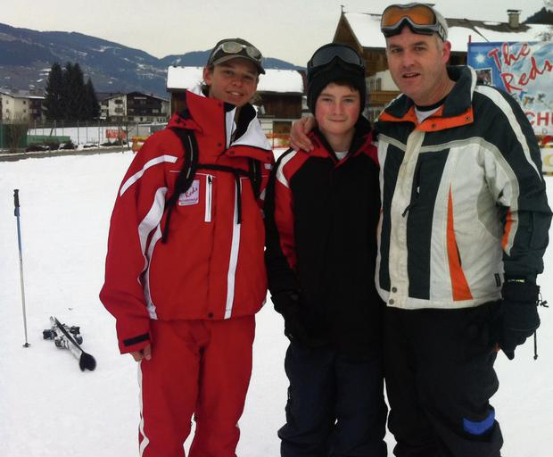 Mark with Rick (far left) and Stephen at the ski school in Westendorf.
