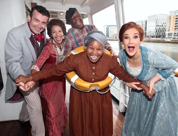 The cast of Show Boat in Dublin's Docklands. Photo: Brian McEvoy