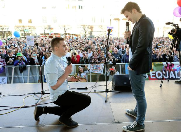 Picture shows singer Gavin Brennan who was surprised as his boyfriend Jamie (left) proposed to him on stage and he accepted.