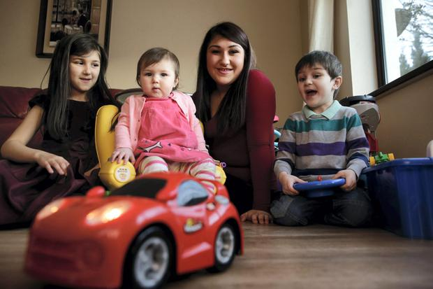 Yasmin O'Connor and her three children; Leah (8), David (4) and Sabrina (1)