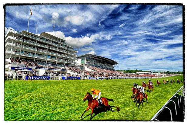 Investec Derby Day, An Alternative View...EPSOM, ENGLAND - JUNE 07: (EDITORS NOTE: This image was processed using digital filters) Oisin Murphy riding Miss Marjurie (orange) wins The Investec Zebra Stakes at Epsom racecourse on June 07, 2014 in Epsom, England. (Photo by Alan Crowhurst/Getty Images)...S