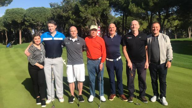 Mark, second from left, with some fellow Irish golfers at Gloria Resort in Turkey