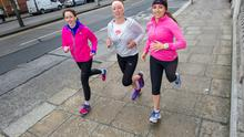 Vhi-Herald team mate Helena Goss with 2fm's Ciara King' doing a trial run with the help of Louise Heraghty