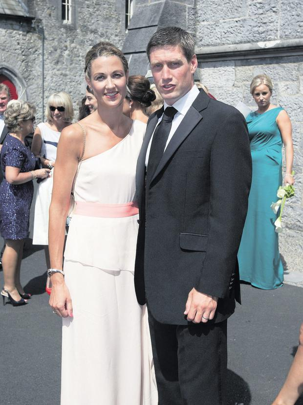 Ronan O'Gara and his wife Jessica at the wedding of Johnny Sexton