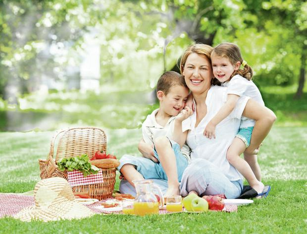 Mother playing with her children on a picnic