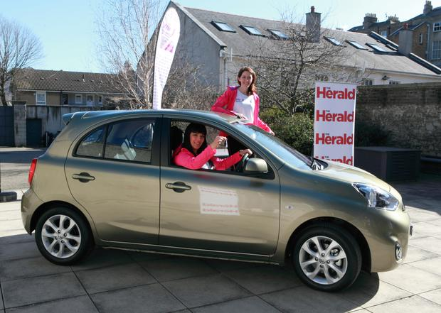 Team Vhi-Herald members Karla Bohan and Helena Goss in a Micra