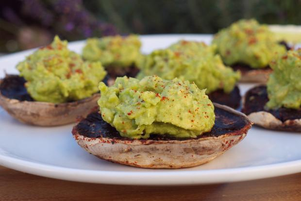 Roast Portabello Mushrooms stuffed with Chilli-Lime Avocado