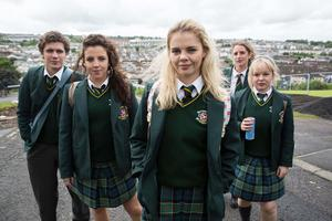Derry Girls stars Dylan Llewellyn (James), Jamie-Lee O'Donnell (Michelle), Saoirse-Monica Jackson (Erin), Louisa Harland (Orla) and Nicola Coughlan (Clare)