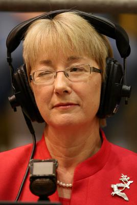 Former Education Minister Mary Hanafin speaking to the media at the Dublin West by-election count.
