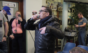 Christy Dignam performing at the Capuchin Day Centre. Photo: Laura Lynott