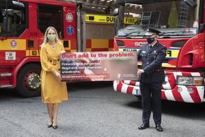 Minister for Justice Helen McEntee and DFB Chief Fire Officer Denis Keeley highlight the issue of illegal fireworks