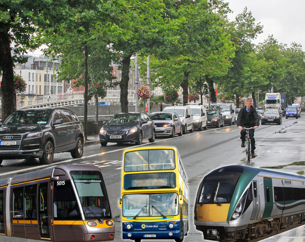 Travel into city centre (between the canals) during the morning rush hour – average figures from Dublin City Council taken over two days in November 2018 between 7am and 10am - 60,537 in cars, 12,227 cyclists, 13,835 - Luas, 34,471 - rail, 64,206 - bus