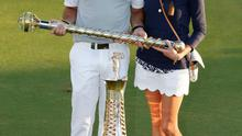 Rory with fiancee Erica Stoll after winning The Race to Dubai and DP World Tour Championship. Photo: Reuters