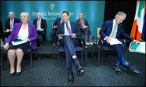 Taoiseach Leo Varadkar and ministers at the launch of the plan at the Department of Justice and Equality