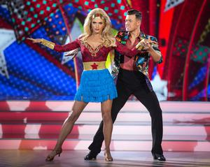 Former Miss Universe Ireland Grainne Gallanagh and Pro Dancer Kai Widdrington pictured during the live show of Dancing with the stars.