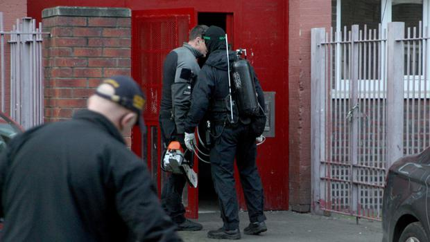 Gardai at the Hardwicke Street flats complex. Pic:               Mick O'Neill
