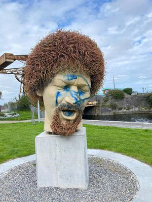 The bust of Luke Kelly after it was vandalised in July