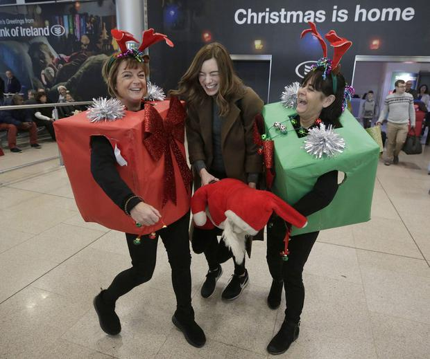 Scene of Christmas past – Lyndsey Porter is welcomed home for Christmas by her mum, Myra and aunt Rhona. Special moments like this are unlikely to be repeated this year