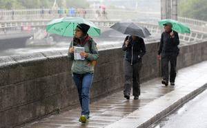 Pedestrians in Dublin get to grips with the returning showers, which are forecast to fall regularly throughout the week