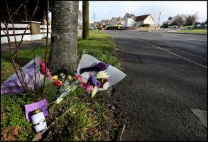 Tributes to Ms McGovern at the scene