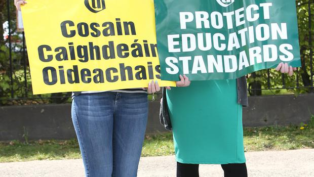 Ciara Cormac, right and Natalie Ni Riain, teachers at Lucan Community College  at a lunchtime protest organised by the Association of Secondary Teachers Ireland (ASTI) and the Teachers' Union of Ireland (TUI), to highlight objections to how students would be assessed under a reformed junior cycle.