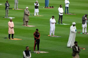 Socially distanced worshippers who attended Eid prayers at Croke Park