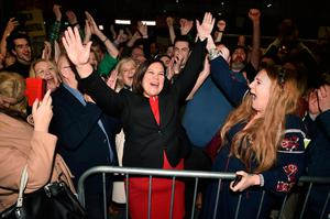 Sinn Fein leader Mary Lou McDonald celebrates with her supporters after being elected in February
