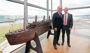 Robert Ballard (left), who discovered the wreck of Titanic in 1985, with deputy chairman Conal Harvey at Titanic Belfast