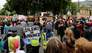 Protesters at the rally at the US embassy in Ballsbridge on Saturday, which passed off peacefully and with no arrests