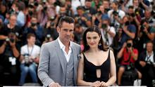 "Cast members Rachel Weisz and Colin Farrell pose during a photocall for the film ""The Lobster"