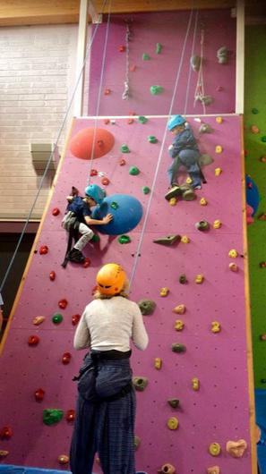 The twins scaling the indoor climbing wall