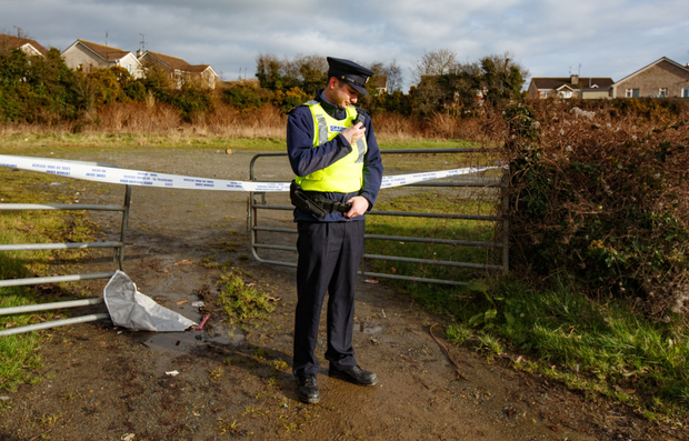 A garda at the scene where the burnt-out getaway car was found