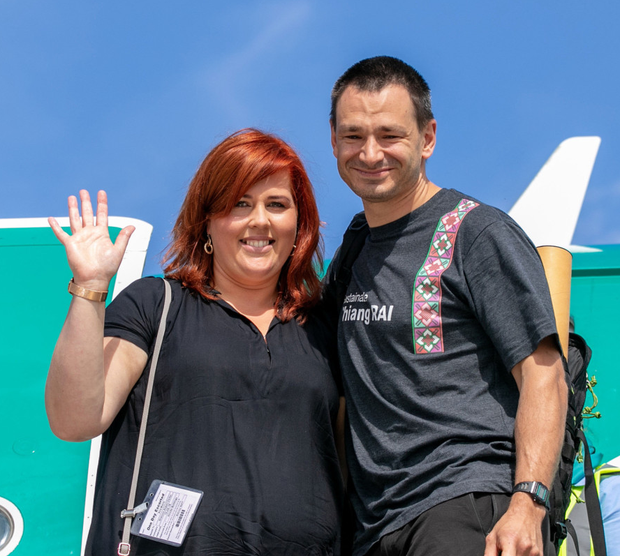 Jim Warny with fiancee Asia Mania after he touched down in Shannon yesterday  Pic: Arthur Ellis