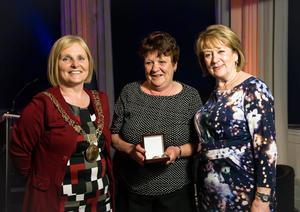 Lord Mayor of Dublin Criona Ni Dhalaigh, Cllr Mary Freehill and Good Citizen Awards winner Esther McGrath Photo by Kevin Mcfeely