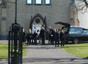 Mourners at Robbie Lawlor's funeral yesterday at the Sacred Heart Church in Laytown