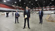 Taoiseach Leo Varadkar, HSE chief Paul Reid and Health Minister Simon Harris visit the Citywest Hotel conference centre
