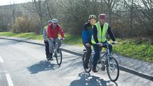 18/03/2014 Visually impaired cyclist Tom Langan, his pilot Gerry Hynes and  Visually impaired cyclist Paul Joyce with John Griffin who will be cycling from Maynooth to Galway.