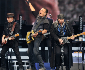 Bruce Springsteen and Nils Lofren on stage (Picture: Steve Humphreys)