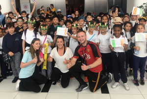 Pupils from ICS Abu Dhabi on a St Patrick's Day field trip to cheer on Team Ireland in the basketball