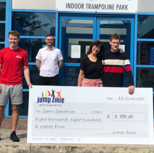Clonskeagh teen Tom Ryan was delighted to receive the giant cheque from Jumpzone Trampoline Park