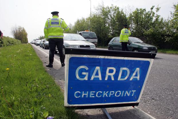 Gardai at the scene of an accident. Stock image