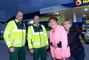 Eileen Finnegan and Margaret Doran demonstrate to Kenmare paramedics Kevin O'Flaherty and Eoin Flynn the manoeuvre used on TD Michael Healy-Rae