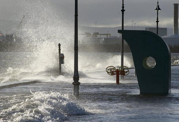 High tides and waves hit the Clontarf coast in Dublin as the recent stormy weather continues. Picture: Arthur Carron/Collins