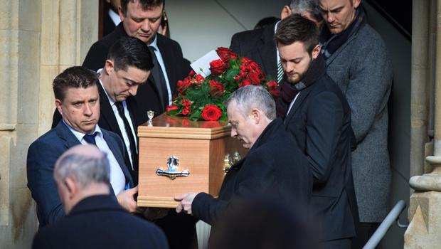 Keelin Shanley's coffin is carried from St Paul's church in Glenageary