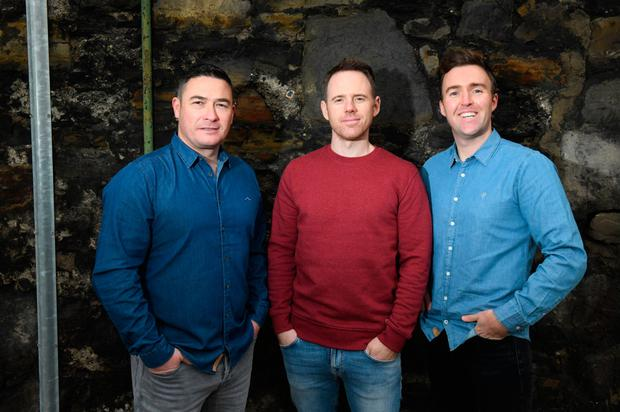 Firefighters Neil McCabe, Damian Bligh and Stephen O'Reilly, who have established their own ethical clothing brand. Photo: PA