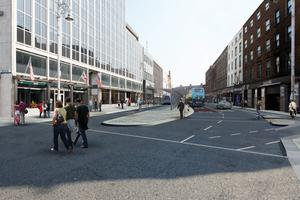 An artist's impression of DCC/NTA's transport plan for D'Olier Street