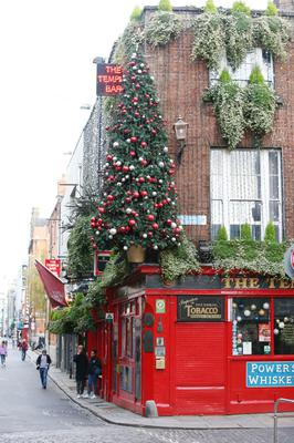 Temple Bar is almost deserted, but that does not stop the festive decoration going up