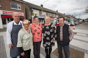 Owen Kelly, Liz Conway, Mary Graham, Elaine Dowdell & Darren O'Brien. Shop owners from Manor Road, Palmerstown complaining of the new road works outside their shops.
