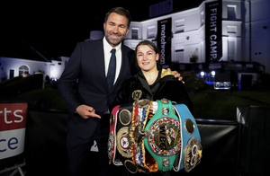 Katie Taylor with promoter Eddie Hearn after her undisputed lightweight titles fight. Photo: Mark Robinson / Matchroom Boxing via Sportsfile